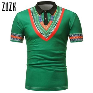 Zuzk 7 Цветов Африканский стиль Печатные с короткими рукавами Этнические рубашки мужчины Случайный футболка M-2XL