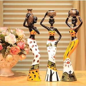 Resin Folk Art Love 3 African Girls Home Decor Resin Figurine folk Art Art Decoration Love Africa figurina 201201