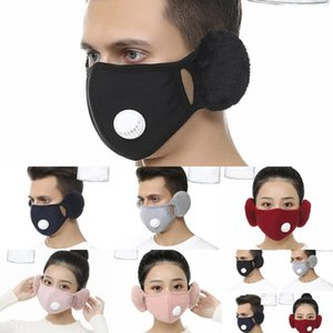 In 1 Face Designer Mask Cover With Plush 2 Ear Protective Mask PM2.5 Thick Warm Mouth Masks Winter Mouth-Muffle Earflap 6 Styles FrN1B