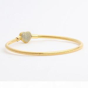 K Wholesale -Love Cz Diamond Bracelet For Pandora 925 Sterling Silver Plated 18k Gold Heart Shaped Snake