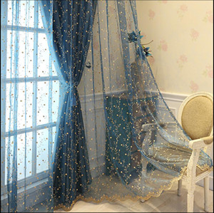 Sheer Curtains Embossed embroidered curtain simple modern fresh pastoral full shading curtain living room bedroom balcony custom finished