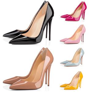 جديد أحمر أسفل الأزياء الكعب العالي للمرأة حفل زفاف الثلاثي الأسود عارية الأصفر الوردي بريق المسامير أشار أصابع القدم مضخات اللباس أحذية