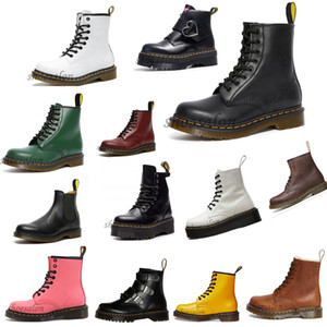 2020 Dr Martins leather fur men women boots 1460 winter snow booties doc shoes martin sneakers black white red Motorcycle boots Zapat