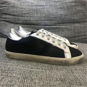 Italia Marca Deluxe Marca Zapatillas De Oro Super Star Sequin Classic White White Do-Old Old Stuck Shoes Gaose Designer Hombre y Mujer Zapatos Casuales 35-45