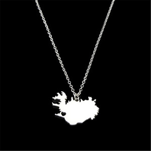 drop shipping fashion Stainless Steel Iceland Map necklace geometric Heart pendant women necklace custom statement jewelery gift