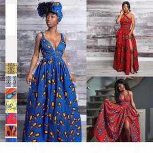 African Traditional Print Dress Sexy Multiway Long Dress Sleeveless Robe Dashiki Ladies Clothing Plus Size Africa Women Dress