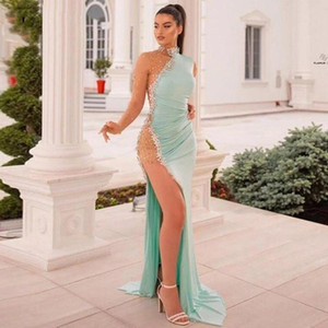 Setwell High Neck Mermaid Evening Dresses Long Sleeves Sequins Beaded Front Split Floor Length Illusion Sexy Prom Party Gowns