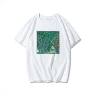 Printed Loose Top Summer New Womens Ulzzang Harajuku Pattern Art Oil Painting O Neck vintage T shirt Drop Shipping