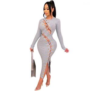 Ropa femenina diseñadora para mujer Un vestido de línea Autumn paneleled Sexy Hollow Out Bandege Vestidos Moda Knitting