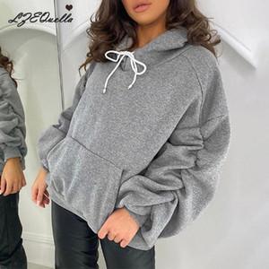 Lzequella Kazak Vintage Kadın Hoodies Gri Sıcak Cutton Kış Cep Kazaklar 2020 Sonbahar Yeni Casual Streetwear Kızlar