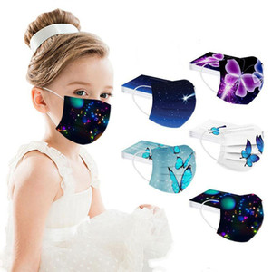 Moda borboleta impressão descartável face máscara de poeira à prova de fumo respirável 3 camada criança máscaras protetoras crianças máscaras não tecidas ahd3131
