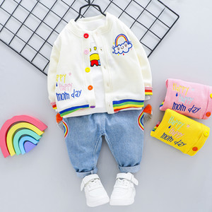2020 Kid Autunmn Outfit Clothes New Style Coat + T-shirt +Jeans 3pcs Cotton Kids Infant Rainbow Print 1 2 3 4 Years Y1113