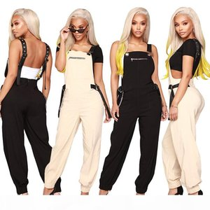 Bib Overalls For Womens Summer Designer Loose Rompers with Rivet Fahion Ladies Casual Solid Long Jumpsuit