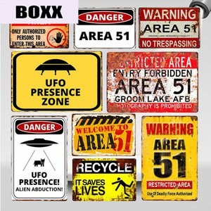 Warning Area 51 Vintage Metal Tin Sign UFO Activity Area Caution Danger Wall Plaque Retro Art Painting Stickers Home Decor