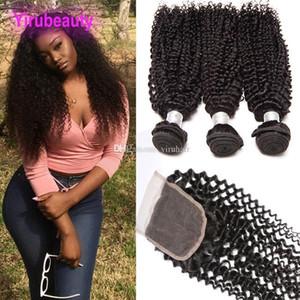 브라질 인간의 머리카락 곱슬 곱슬 3 번들 4 x 4 레이스 폐쇄 kinky 곱슬 머리 확장 톱 폐쇄 씨앗