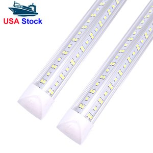 25 PCS, 8Ft Led Shop Lights ,8 feet Cooler Door Freezer Tube Lighting Fixture ,2 Row 100W 10000 lm ,V Shape Fluorescent Tubes Clear Cover Linkable In Stock