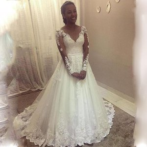 2021 New A-line Wedding Dresses Appliques Lace Long Sleeves Sweep Train Princess Bridal Gowns Plus Size Wedding Dress