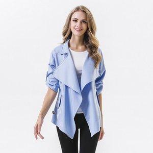 Casaco Feminino Lace Trench For Women New 2020 Spring Temperament Joker Brand Lapel Irregular Sleeve Windbreaker Loose Coat