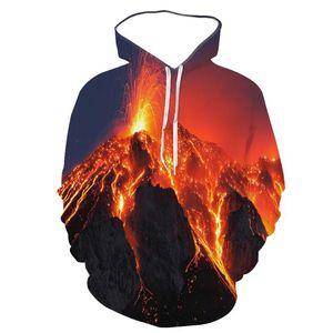 Мужские толстовки для толстовок Европейская и американская мода 3D цифровая печатание Magma Flame творческий с длинным рукавом спортивный капюшон
