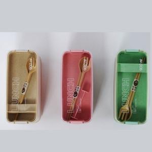 3 capas Caja de almuerzo Portátil Sello portátil Prueba de fugas Bento Cajas Tapa Tenedor transparente Cuchara de trigo Fibra de trigo Rectángulo 8 5SM G2