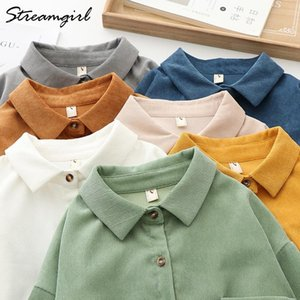 StreamGirl Women's Gorduroy Shirty Mujeres Primavera Otoño Vintage Suelte Corduroy Button-Down Camisa para mujer Camisas de mujer Amarillo