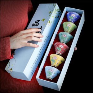 New Creative Gifts Kung Fu Tea Tea Set Multicolor Travel Bowl Chinese Porcelana Tea Tea Sets Cerámica China Juego de té 6pcs / Set