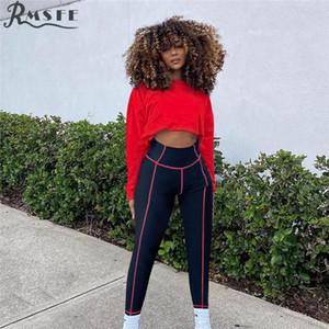 RMSFE 2020 Seksi Spor Koşu O-Boyun Kırpma Üst İki Adet Patchwork Spor Setleri Lady Kızlar için 2020 Sonbahar Clubwear 2 adet