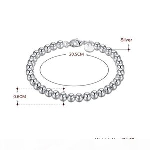 K Diamond Ring Real 925 Sterling Silve 6mm Chain Bead Bracelet Fashion Charm Women Jewelry Wedding Birthday Gift H114