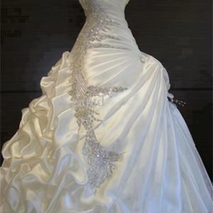 Best Selling 2020 Wedding Dresses with Rhinestones Slight Sweetheart Blush Train Ruffled Fold Pleat Lace up Sexy Bridal Dress Q1113