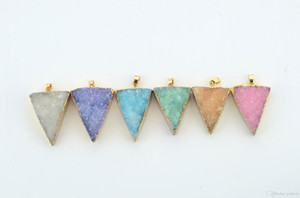 Druzy Triangle Agate Pendant Genuine Gemstone Multi Color Pendant With Brass Chain Necklace