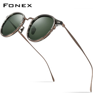 FONEX Acetate Titanium Sunglasses Men Vintage Retro Round Polarized Sun Glasses for Women 2020 New High Quality UV400 Shades 850 Q1128