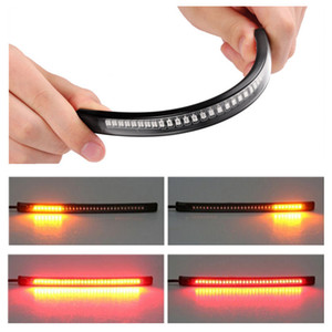 48 SMD Flexible LED Motorcycle Strip Turn Signal Tail Rear Brake Stop Dual Color Yellow Red Light Waterproof Bulb lamp