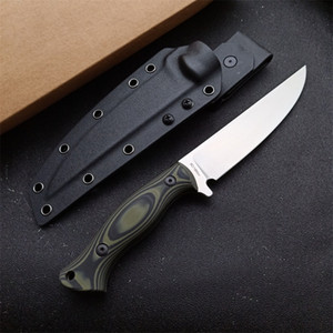 Top Quality Outdoor Survival Straight Hunting Knife 9Cr18Mov Satin Drop Point Blade Full Tang G10 Handle With Kydex