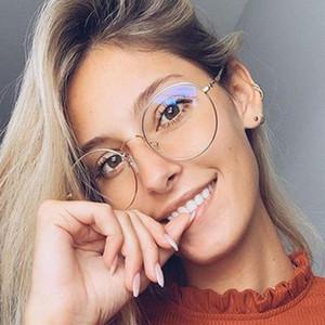 Moda Gafas de sol Marcos Abrir Tornillo Redondo Gafas Transparentes Pantalla de computadora Luz azul Bloqueo óptico Eyewear Claro Lente Espectáculos Ojo
