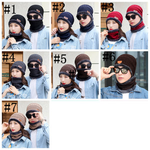 Beanie Hat Scarf Set Knit Hats 7 Color Warm Thicken Winter Hat for Men and Woman Unisex Cotton Beanie Knitted Caps LLS153