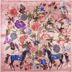 (90 سنتيمتر * 90 سنتيمتر) الأوراق اللوحة وشاح مربع لسيدة الأوشحة الصغيرة الحرير الحرير الزهور / النباتات / الألوان اللوحة / الأوشحة نوعية جيدة
