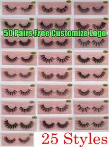 3D Mink Eyelashes Faux Natural Eyelashes Falsos 3D Mink Lashes Macio Maquiagem Extensão Maquiagem Composição Olho Falso 3D Eyelash personalizar logotipo