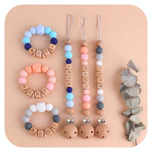 Fashion DIY Natural and Organic Silicone and Wood Baby Pacifier Clip+baby teether 2pcs set Teething Clips Safe Teething Chain Toys B3437