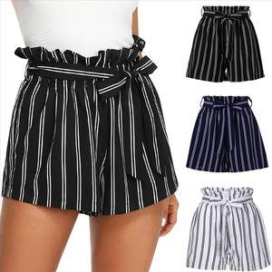 Womens fashion Shorts Women Retro Stripe Casual Fit Elastic Waist Pocket Shorts With String Drop Shipping