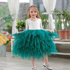Girls Lace Dress Flower Tiered Tulle Maxi Dress Long Sleeve Princess For Wedding Party Children Clothes 1-10Y E17104 F1130