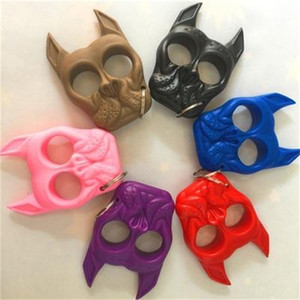New Mini Plastic Dog Head Pendant Key Chain For Women Girl Outdoor Self-defense Hand Buckle Car Bags Keychains gift