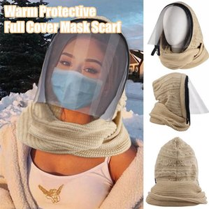 Zipper Clamshell Hat Knitting Face Mask With Scarf Winter Warm Transparent Lip-language Knitted Windproof 3 in 1 Hat Set LJJP796