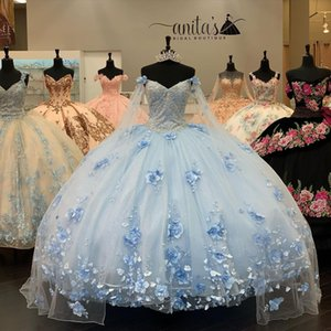Sky Blue Ball Gown Quinceanera Dresses with Long Sleeve Cape 2021 Off Shoulder 3D Floral Beaded Lace-up Princess Sweet 16 Prom