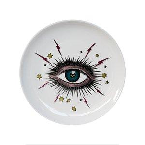 8inch Big Eye Starry Sky plaque décorative en céramique ronde vaisselle Cat Head Bijoux de stockage plat artistique Sky Eye Mode Plate coloré