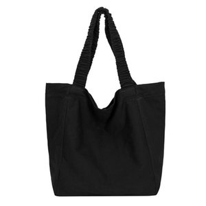 Canvas Capacity Women Shoulder Bag Elastic shoulder strap Cotton Tote Shopper Bag Eco Reusable Travelling Cloth MessengerBag
