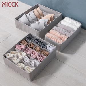 MICCK Storage Box 3pcs Set Compartment Gray Organizer For Underwear Panties Socks Towel Drawer Foldable Bra Storage Accessories Z1123