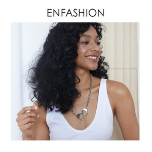 Enfashion Big Muncuffs Pendentif Colliers Pour Femmes Steel Steel Déclaration Long Collier Mode Bijoux en gros 2020 p3085