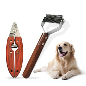 Pet Comb Clippers Dog Grooming Wooden Handle Open Knot Comb Hair Removal Brush Float Scissors For Dogs Cats