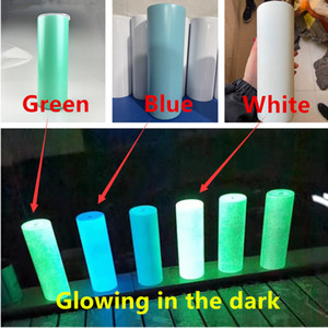 STRAIGHT 20oz Sublimation Luminous Paint Cups With Straw Glowing In The Dark White Stainless Steel Water Bottles Drinking Milk Mugs A12