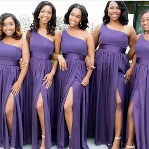 Purple One Shoulder Bridesmaid Dress Long Side Split Wedding Guest Dress Pleats Chiffon Maid Of Honor Gowns